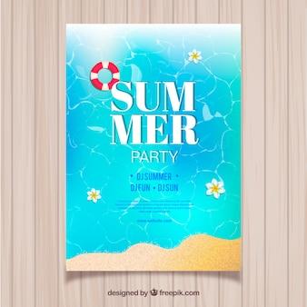 Póster realista de fiesta de verano