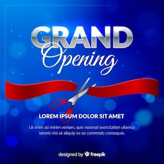 Poster realista y desenfocado de gran inauguración