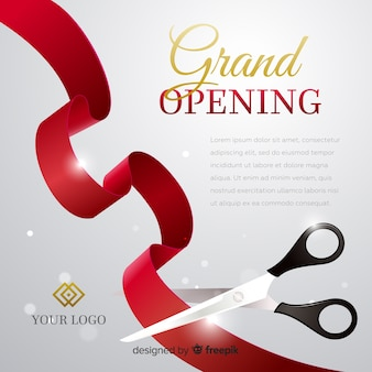 Poster realista de gran inauguración con tijeras