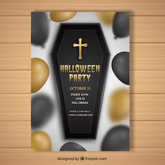 Póster realista de halloween con ataúd