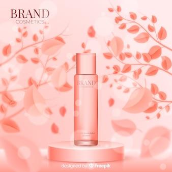 Poster realista y rosa de anuncio de cosmético