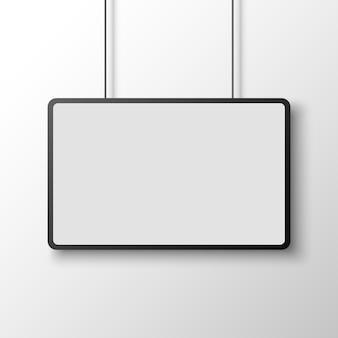 Póster rectangular en blanco y negro en la pared blanca. bandera. ilustración.