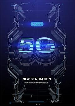 Póster de red de comunicación inalámbrica 5g.