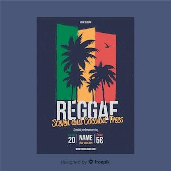 Póster reggae silueta palmeras
