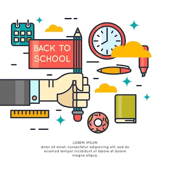 Póster regreso a la escuela. gráficos modernos