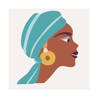 Póster con un retrato abstracto femenino africano en un turbante y aretes grandes
