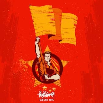 Póster revolución levantando la bandera