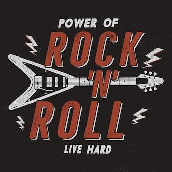 Póster rock n roll dibujado a mano vintage