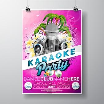 Póster rosa de fiesta de karaoke