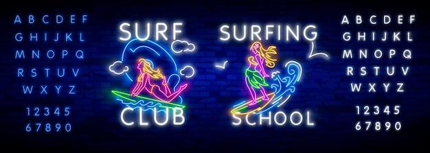 Póster de surf en estilo neón