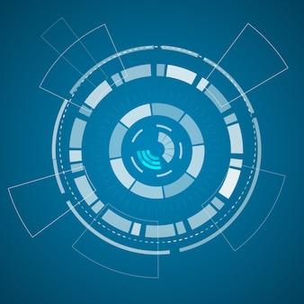 Póster de tecnología virtual moderna con varios elementos tecnológicos y formas en el papel azul