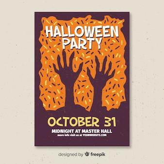 Póster terrorífico de fiesta de halloween con diseño plano