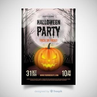 Póster terrorífico de fiesta de halloween con diseño realista
