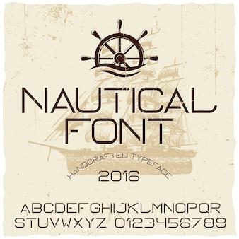 Póster tipográfico náutico hecho a mano con barco en el centro