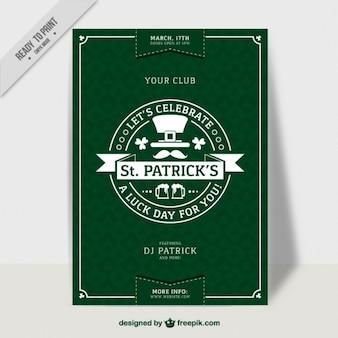 Póster verde del día de san patrick en diseño plano