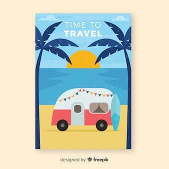 Póster de viaje vintage caravana plana