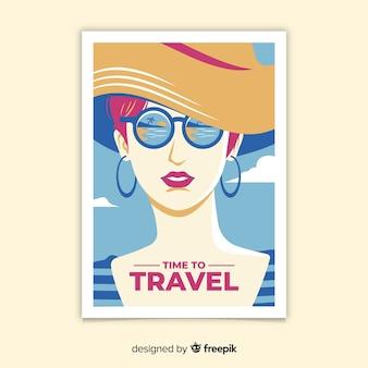 Póster viaje vintage diseño plano