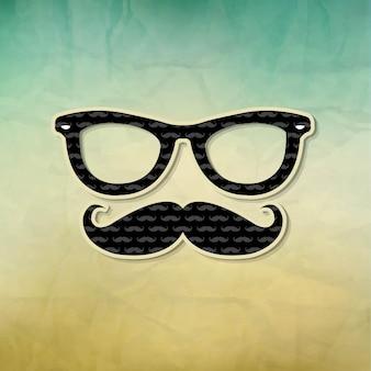 Póster vintage hipster, con malla de degradado,