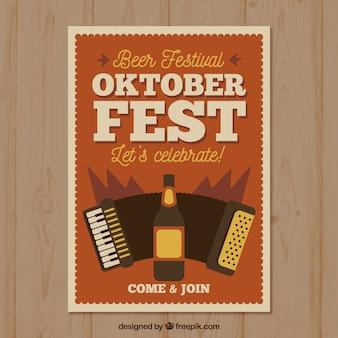 Póster vintage del oktoberfest con cerveza y acordeón
