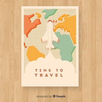 Póster vintage de viaje en diseño plano