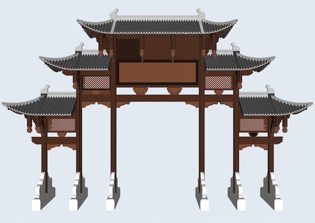 Postes de entrada de estilo chino y japonés