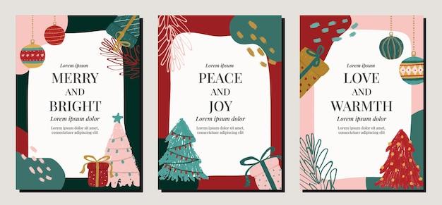 Postes de ilustración de vacaciones navideñas multicolores modernas para invitaciones, carteles, tarjetas, redes sociales