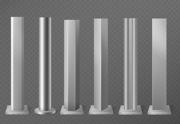 Postes de metal. pilares metálicos para letreros y vallas publicitarias urbanas. conjunto de columnas de acero pulido en diferentes formas de sección