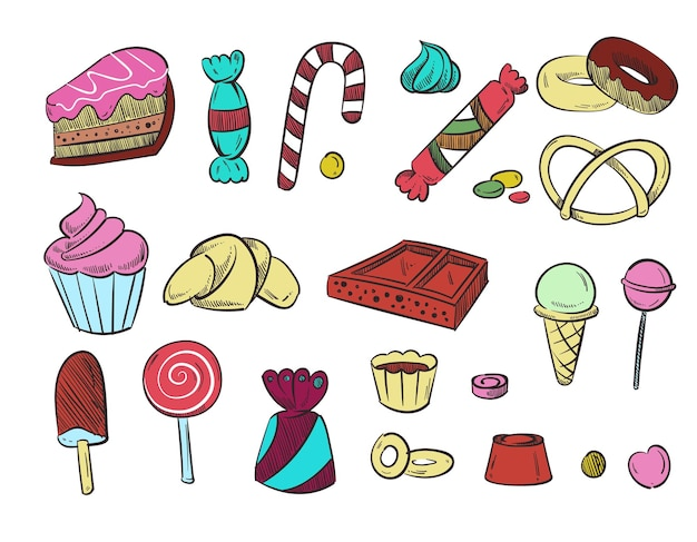 Postre de boda dulce, cupcakes, helados, donuts stock dibujado a mano.