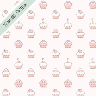 Postre de comida dulce y sabrosa cupcake de patrones sin fisuras