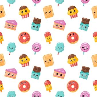 Postre de dibujos animados kawaii de patrones sin fisuras. dulce caramelo aislado