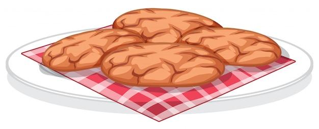Postre dulce de galleta aislado sobre fondo blanco