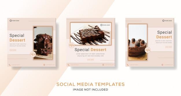 Postre especial pastel de chocolate banner post