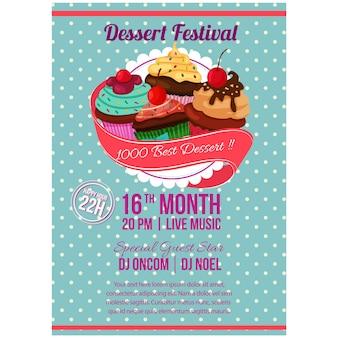 Postre festival cartel con cupcakes.