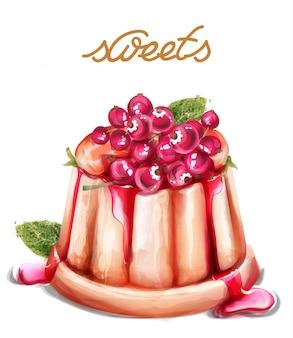 Postre de panna cotta con frutas de grosella vector acuarela. postres de verano de estilos vintage.