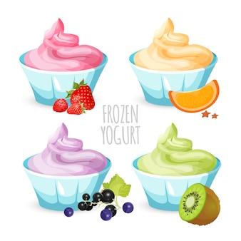 Postre saludable de yogurt congelado casero