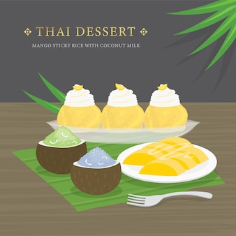 Postre tailandés, mango y arroz con leche de coco y salsa de mango.