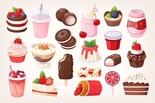 Postres de chocolate y frutas