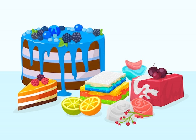 Postres, tortas en la ilustración de la tabla. deliciosos pasteles postres pasteles festivos decorados con varias bayas