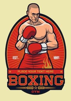 Postura de combate de boxeo con rayo de sol