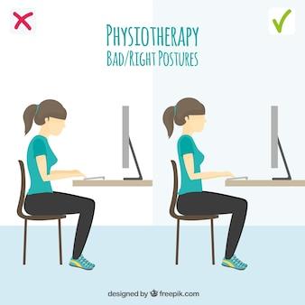 Postura correcta e incorrecta frente al ordenador
