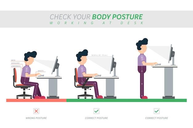 Postura correcta de sentarse en el escritorio