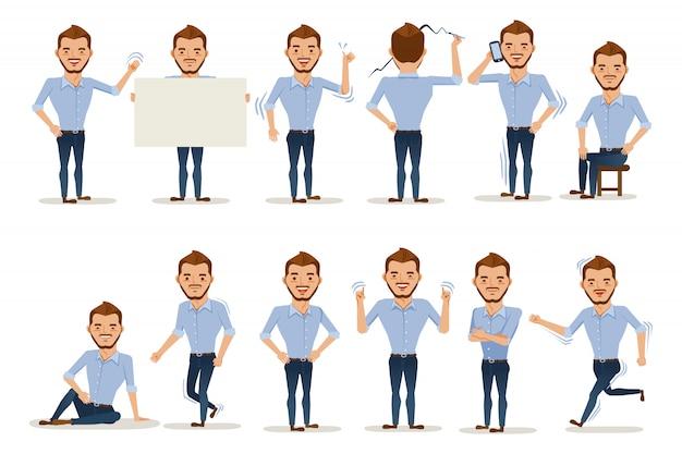 Postura del hombre carácter del hombre en ropa casual en diferentes poses.