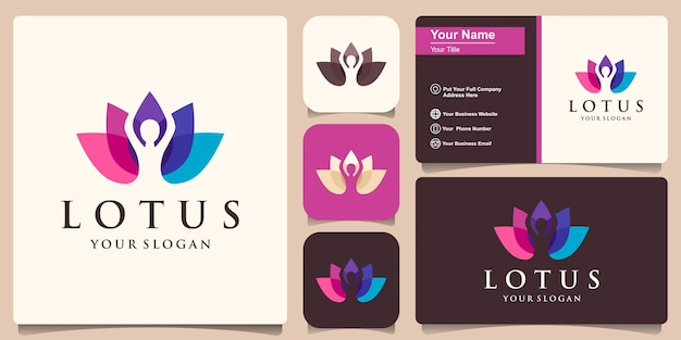 Postura de loto de yoga colorido en flor plantilla de logotipo y diseño de tarjeta de visita