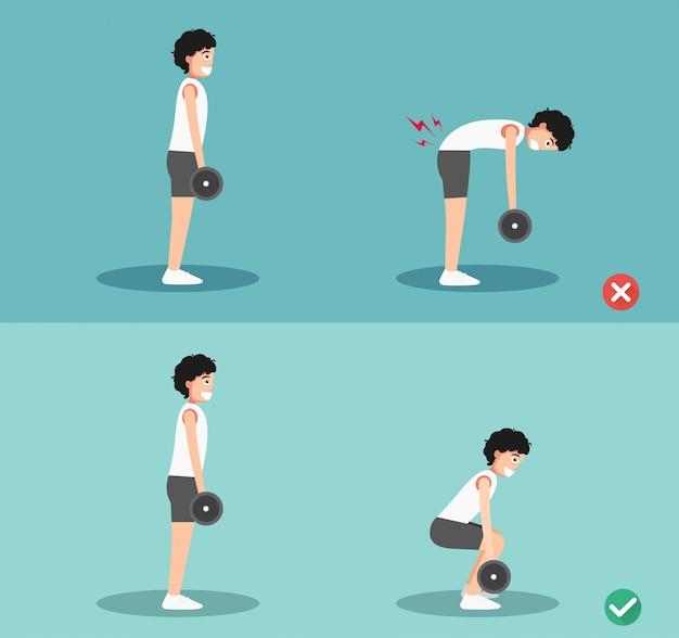 Postura de peso muerto incorrecta y correcta masculina, ilustración