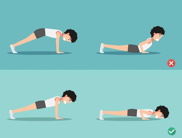 Postura de push-up incorrecta y derecha, vector