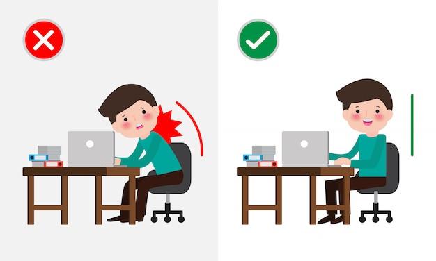Postura sentada correcta e incorrecta. enfermedad dolor de espalda. salud médica síndrome de la oficina, empresario ilustración de dibujos animados.
