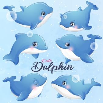 Posturas de delfín lindo doodle en conjunto de ilustración de estilo acuarela