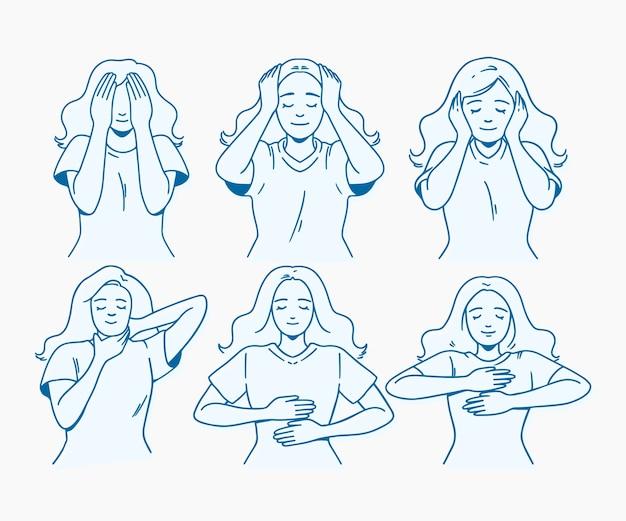 Posturas de reiki autocurativas de diseño dibujado a mano
