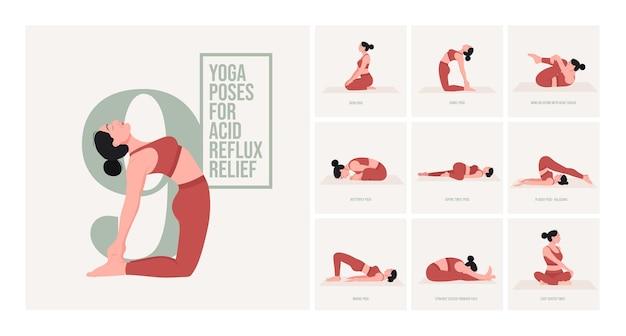 Posturas de yoga para el alivio del reflujo ácido mujer joven practicando posturas de yoga