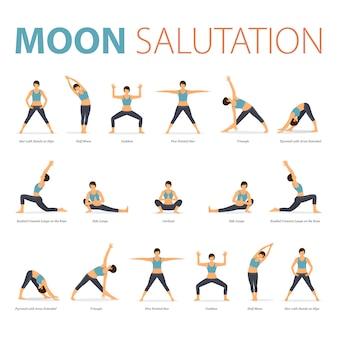 Las posturas de yoga en concepto de yoga moon salutation en diseño plano para el día internacional del yoga.
